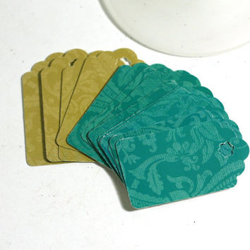 2 inch Gift Tags - 16 Turquoise and Gold Medium 2 Inch Gift Tags made from Glossy Cardstock - Handmade by me
