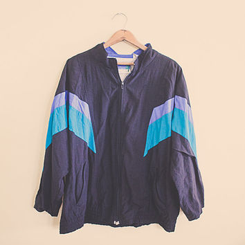 90's 80's  Turquoise Blue Purple Neon Black  Windbreaker  Oversized Nylon Wind Breaker Jacket Coat Size XL Extra Large Athetic Wear