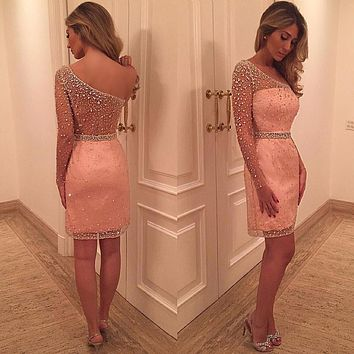 Sexy Luxury One Shoulder Short Cocktail Dresses 2017 Beaded Crystal See Through Girls Party Dresses robe de cocktail