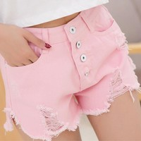 Denim Women Sexy Shorts 2016 Summer Hole Destroyed Shorts Jeans 4 Color High Waisted Jeans Short Feminino Fashion XL