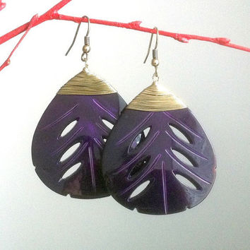 Dark Purple Leaf Earrings