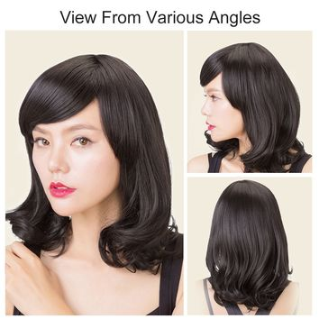 Rabbitgoo Halloween Medium Wig Hair Black Wigs Curly Bob Wigs With Bang