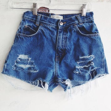 High Waisted Denim Shorts Distressed Jean Shorts Size 0