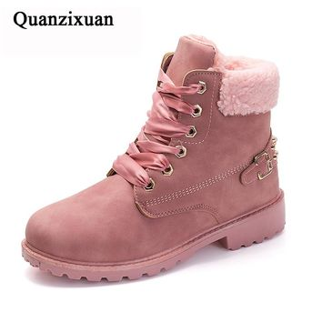 New Pink Women Boots Lace Up Casual Ankle Boots Round Toe PU Women Shoes Winter Warm Snow Boots Women Short Boot Size 36-41