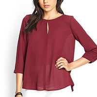 FOREVER 21 Vented Georgette Top Burgundy