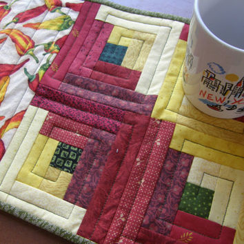 Quilted Mug Rug or Candle Mat - Chili Peppers - Red Yellow