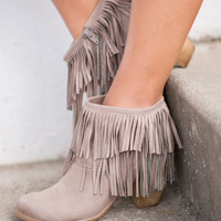 Just My Type Fringe & Chain Booties (Taupe)