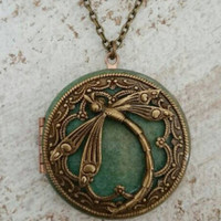 Dragonfly Locket Pendant Necklace - Vintage Antique brass Ornately Decorated Pendant Jewelry