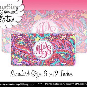Paisley Groovy Monogram License Plate Metal Wall Sign for Auto Car Truck Tags Personalized Custom Vanity Pink Blue Lilly Inspired