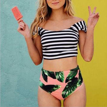 Floral High Waist Bottom Bikini Set Striped Off shoulder Swimwear Swimsuit Bathing Suit Beach Wear Swimming Suit for Women