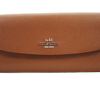 Coach CrossGrain Leather Soft Flat Wallet Saddle Brown F54008
