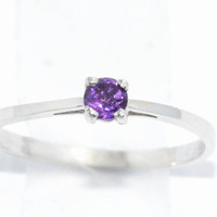 3mm Genuine Amethyst Round Ring .925 Sterling Silver Rhodium Finish White Gold Quality