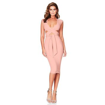 Bandage Hollow Out Mid Calt Dress Women Slim Bow Tie Sleeveless V Neck Holiday Party Dresses Bodycon Club Wear Sundress Dress#23