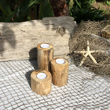 3 pc Driftwood Candle Holders, Reclaimed Tree Limb Candles, Beach Cottage Decor, Beach Wedding Decor, Beach House, Summer Decor, Gift Idea