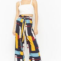 Multicolored-Geo Print Wide-Leg Pants