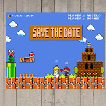 Wedding invitation Mario Bros Pixel Nintendo - Peach Mario - Save the Date - Digital file