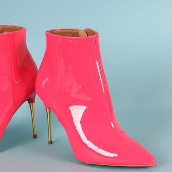 Qupid Patent Leather Pointy Toe Metallic Stiletto Heel Booties