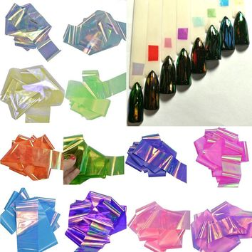 1Lot Mixed 20 Colors New Laser Effect Shinny Holographic Broken Glass Sticker Nail Art Sticker DIY Tips Paper Tools NJ211