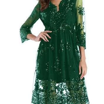 New Dark Green Patchwork Floral Embroidery Grenadine Sequin Double-deck Long Sleeve Sheer Homecoming Party Elegant Midi Dress