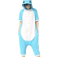 Animal Onesuit Cosplay Costume Unisex Adult Kids Blue Narwhal Pajamas Jumpsuit Child Short Sleeves Summer