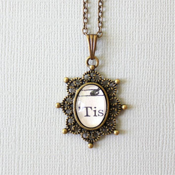 Tiny sheet music necklace.  One of a kind pendant made from vintage sheet music under glass.  Victorian inspired jewelry