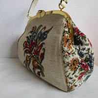 50s La Marquise Floral Handbag Vintage Needlepoint Tapestry 1950s Cream Red Rose Large Purse