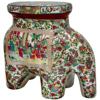 Artisan Crafted Oriental Porcelain Elephant Stool