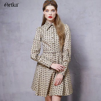Vintage Turn-down Collar Long Sleeve Belted Waist Coat Dress