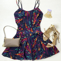 Spaghetti Strap Printed A-Line Dress