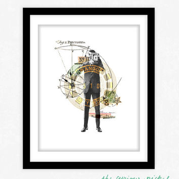 Camera Man - Illustration Collage Poster Print - Whimsical Illustration Print