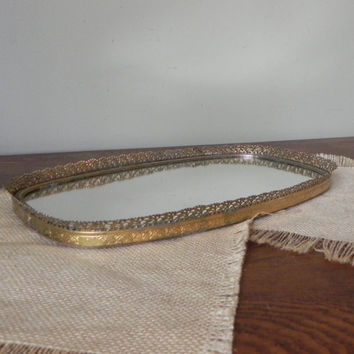Vintage mirror tray romantic gold brass filigree edges