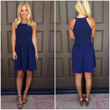 Alexandria Bejeweled Dress - NAVY