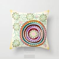 Decorative Mandala Throw Pillow. Vibrant decorative Pillow Cover. 18 inch. Double sided Print