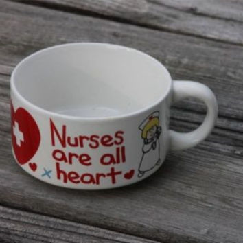~Nurses Are all Heart~ Cartoon Nurse with Red Heart *Cute* Large Coffee Mug Cup