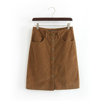 Women 5 Buttons Fashion Retro Style Brown Corduroy Winter Warm Skirt