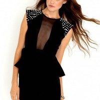 Missguided - Natale Pearl Shoulder Peplum Dress