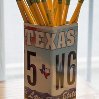 Texas License Plate Pencil Holder - Pencil Cup - Unique Pencil Cup - Desk Accessories - Office Decor - Desk Organizer - Pen Holder - Pen Cup