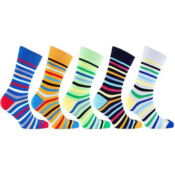 Men's 5-Pair Funky Striped Socks