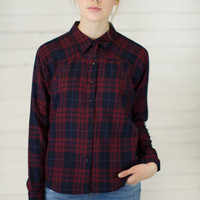 Cabernet Flannel Button Up