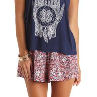 Flowy Paisley Print High-Waisted Shorts by Charlotte Russe - Red