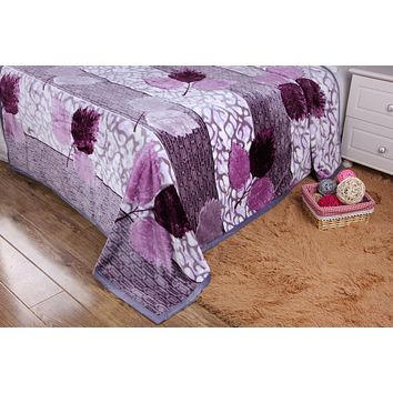 DaDa Bedding Orchid Blossoms Striped Floral Lavender Plush Fleece Flannel Throw Blanket (XY9833)