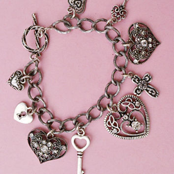 Antiqued Silvertone Heart Charm Bracelet-Vintage Inspired  Jewelry
