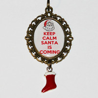 Keep Calm Santa Is Coming Pendant Necklace