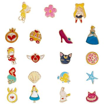 Alice Wonderland Mermaid Cinderella Earrings Set Sailor Moon Card Captor Sakura Clip Earring no Piercing For Children Kids Girls