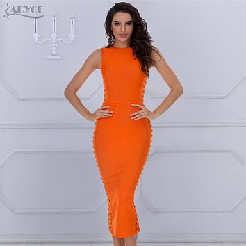ADYCE 2018 Elegant Bandage Dress Women Sexy Celebrity Party Dresses Bodycon Runway Dress O-Neck Hollow Out Club Vestidos