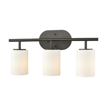 Pemlico 3-Light Vanity Lamp in Oil Rubbed Bronze with White Glass