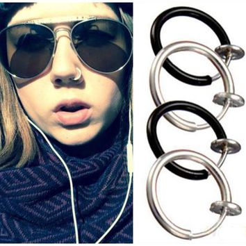Goth Septum Punk Style Fake Piercing Clip On Hoop Boby Lip Nose Rings Body Jewelry Unisex Ear Piercing Earrings 3 Colors Pick