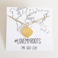 Netherlands Coin Pendant 24k Gold Leaf #LOVEMYROOTS