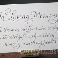 In Loving Memory Sign Table Card - Wedding Reception Seating Signage - Family Photo Table Sign - Matching Numbers Available SS01