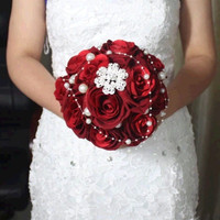 red handmade Wedding bouquet flower flannelette pearl diamond Bride Hands Holding Rose Flower Wedding Bridal Bridesmaid Flower = 1930210372